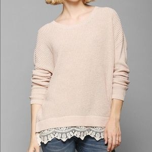 UO Pins & Needles Ribbed Knit Sweater Lace Hem
